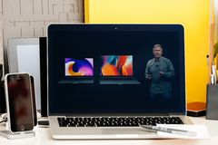 Macbook Pro Touch Bar presentation wide gamut screen. PARIS, FRANCE - OCT 28 2016: Apple Computers website on new MacBook Pro Retina with OLED Touch bar in geek Stock Photo