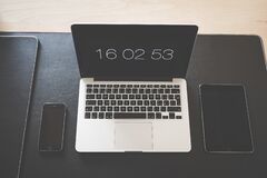 Macbook Pro Turn on at 16 02 53 Stock Photo