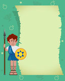 Maccabee with scroll. Maccabee soldier with blank scroll. Eps10 vector illustration