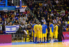 Maccabi players. At the Euroleague basketball match between FC Barcelona and Maccabi Electra, final score 70-67, on February 29, 2012, in Barcelona, Spain Stock Image