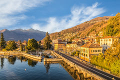 Maccagno on lake Maggiore - Verbano, with the old small harbor, province of varese, Italy Stock Images
