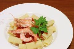 Maccaroni with shrimp Stock Photos