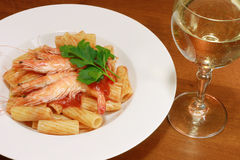 Maccaroni with shrimp Stock Images