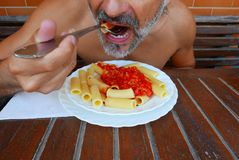 Maccheroni人healty饮食 库存图片