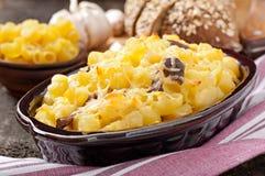 Maccheroni con formaggio, il pollo ed i funghi fotografia stock libera da diritti