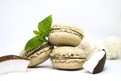 Maccheroni con la noce di cocco fresca, foglie di menta su bianco Immagine Stock Libera da Diritti
