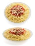 Maccheroni degli spaghetti della pasta su bianco Fotografia Stock