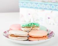 Maccheroni dei dolci e contenitore di regalo francesi tradizionali Immagine Stock