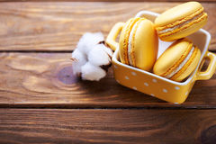 Maccheroni e fiori del cotone sulla tavola di legno Fotografie Stock