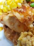Maccheroni e formaggio, lasagne al forno, verdure miste fotografia stock