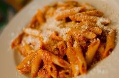 Maccheroni with parmesan - italian food. Royalty Free Stock Image