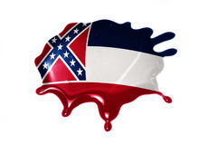 Macchia con la bandiera dello stato del Mississippi Immagini Stock