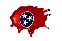 Macchia con la bandiera dello stato del Tennessee Fotografia Stock Libera da Diritti