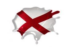 Macchia con la bandiera dello stato dell'Alabama Fotografia Stock Libera da Diritti