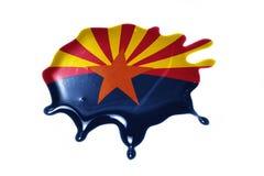 Macchia con la bandiera dello stato dell'Arizona Fotografia Stock
