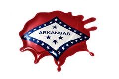 Macchia con la bandiera dello stato dell'Arkansas Immagine Stock Libera da Diritti