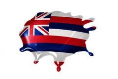 Macchia con la bandiera dello stato dell'Hawai Immagine Stock