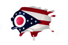 Macchia con la bandiera dello stato dell'Ohio Immagine Stock Libera da Diritti
