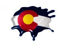 Macchia con la bandiera dello stato di colorado Fotografia Stock Libera da Diritti