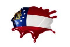 Macchia con la bandiera dello stato di Georgia Fotografia Stock Libera da Diritti