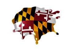 Macchia con la bandiera dello stato di Maryland fotografie stock libere da diritti