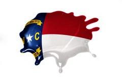 Macchia con la bandiera dello stato di North Carolina Fotografie Stock