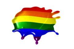 Macchia con la bandiera gay fotografia stock