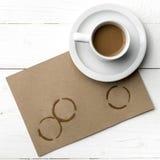 Macchia della tazza di caffè Fotografia Stock Libera da Diritti