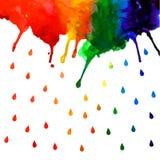 Macchia di pendenza dell'arcobaleno dell'acquerello con le gocce illustrazione di stock