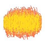 Macchia gialla di struttura dello scarabocchio del pastello isolata su fondo bianco Fotografie Stock Libere da Diritti