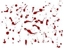 Macchia sudicia del sangue, gocce rosse su fondo bianco Illustrazione di vettore, stile del maniaco Fotografie Stock Libere da Diritti