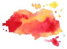 Macchia variopinta rossa astratta dell'acquerello di vettore Elemento di lerciume per progettazione di carta illustrazione di stock