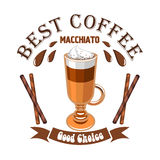 Macchiato coffee. Cafe emblem. Glass cup with layered coffee drink macchiato, cinnamon sticks and brown ribbon. Vector template for cafeteria menu, coffee shop Royalty Free Stock Images