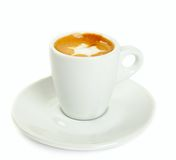 Macchiato isolated. Cup of macchiato with cream isolated on white Stock Images