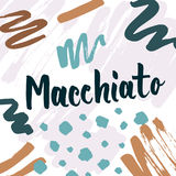 Macchiato lettering for coffee shops, cafes and advertisements. Coffee set collection modern design Royalty Free Stock Photo