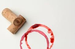 Macchie datate del vino e del sughero Immagini Stock Libere da Diritti