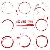 Macchie del vino rosso su fondo bianco Fotografia Stock