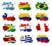 Macchie della bandiera di paesi del Sudamerica Fotografia Stock