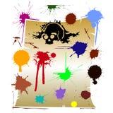 Macchie di colore su vecchio documento Fotografia Stock