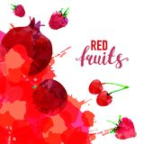 Macchie e macchie tirate dell'acquerello dell'allegagione rossa con una fragola dello spruzzo, lampone, melograno, ciliegia, ross fotografia stock libera da diritti