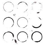 macchie nere dell'inchiostro messe su fondo bianco Fotografia Stock Libera da Diritti