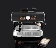 Macchina alla moda del caffè con il touch screen immagine della rappresentazione 3d con il percorso di residuo della potatura mec Fotografia Stock Libera da Diritti