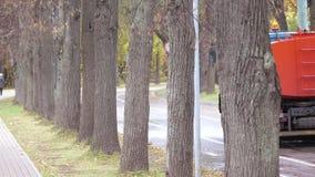 Macchina d'innaffiatura nel parco in Sokolniki archivi video