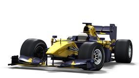 Macchina da corsa su bianco - azzurro & colore giallo Immagine Stock