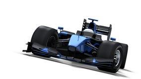 Macchina da corsa su bianco - il nero & azzurro Fotografia Stock