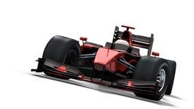 Macchina da corsa su bianco - il nero & colore rosso Fotografia Stock Libera da Diritti