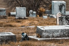 Macchina da presa eccellente d'annata di Minolta 8mm che si trova nel cimitero in Philomath Oregon fotografia stock