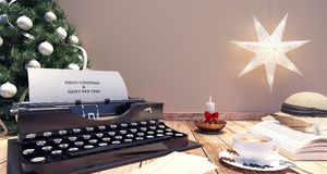 Macchina da scrivere con la decorazione di Natale Fotografia Stock Libera da Diritti