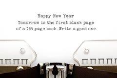 Macchina da scrivere di citazione del nuovo anno Fotografie Stock