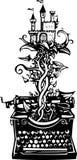 Macchina da scrivere di fantasia dell'intaglio in legno illustrazione vettoriale
